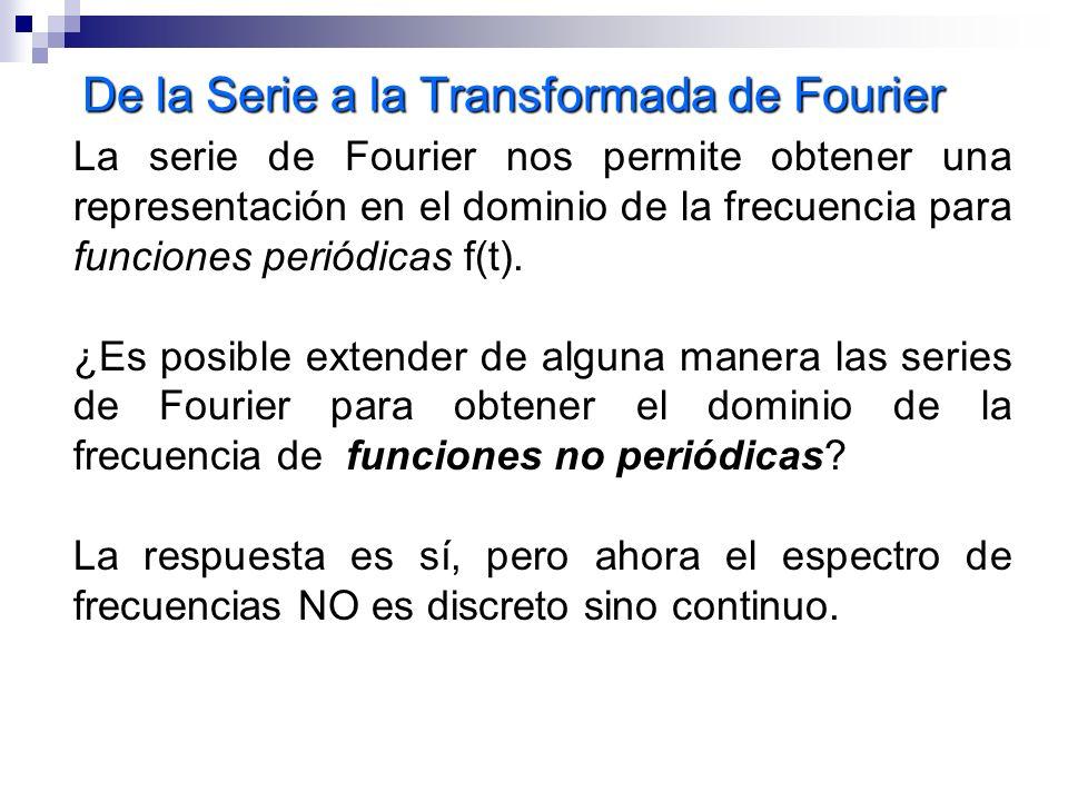 De la Serie a la Transformada de Fourier La serie de Fourier nos permite obtener una representación en el dominio de la frecuencia para funciones peri
