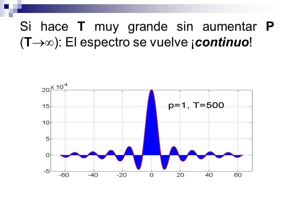 Si hace T muy grande sin aumentar P (T ): El espectro se vuelve ¡continuo!