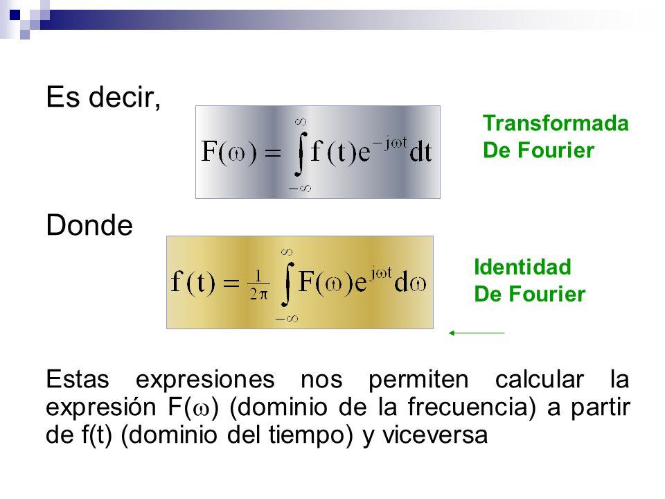 Es decir, Donde Estas expresiones nos permiten calcular la expresión F( ) (dominio de la frecuencia) a partir de f(t) (dominio del tiempo) y viceversa