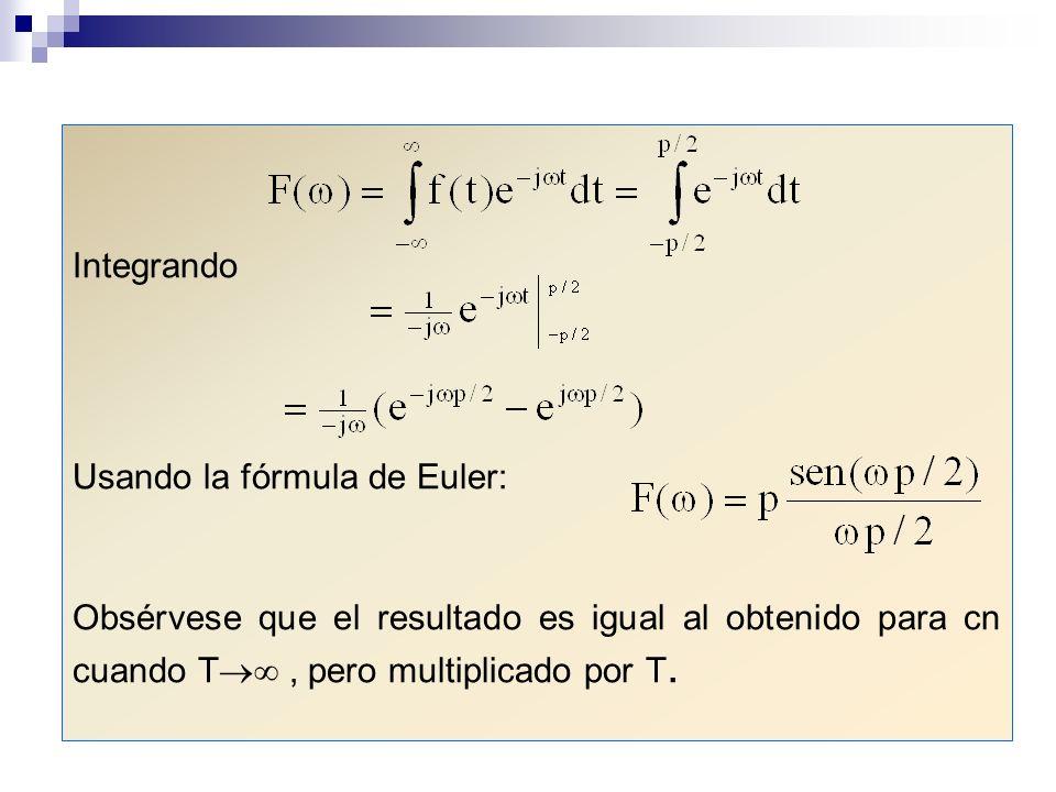 Integrando Usando la fórmula de Euler: Obsérvese que el resultado es igual al obtenido para cn cuando T, pero multiplicado por T.