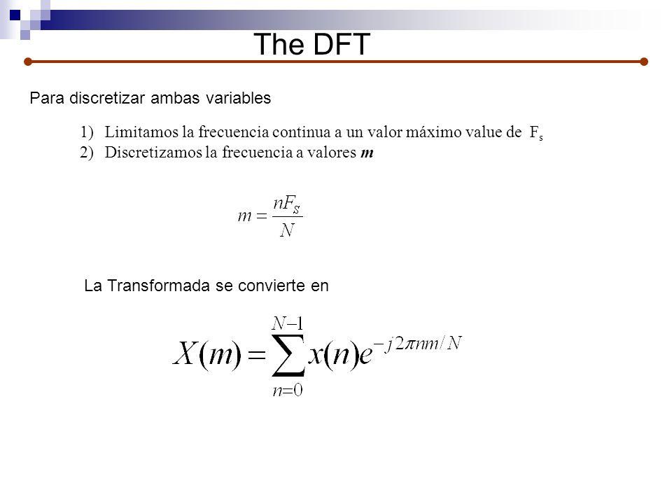 The DFT Para discretizar ambas variables 1)Limitamos la frecuencia continua a un valor máximo value de F s 2)Discretizamos la frecuencia a valores m L