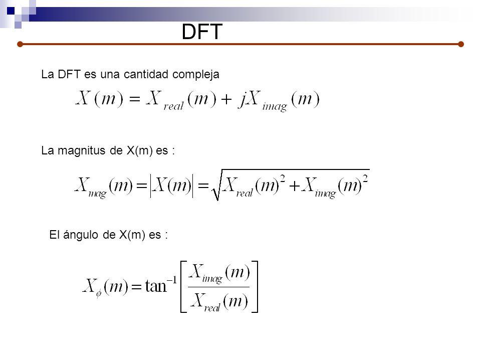 DFT La magnitus de X(m) es : El ángulo de X(m) es : La DFT es una cantidad compleja