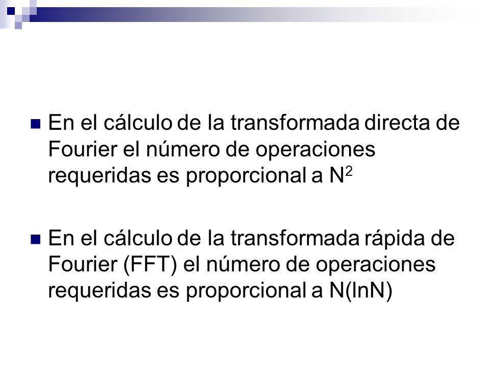 En el cálculo de la transformada directa de Fourier el número de operaciones requeridas es proporcional a N 2 En el cálculo de la transformada rápida