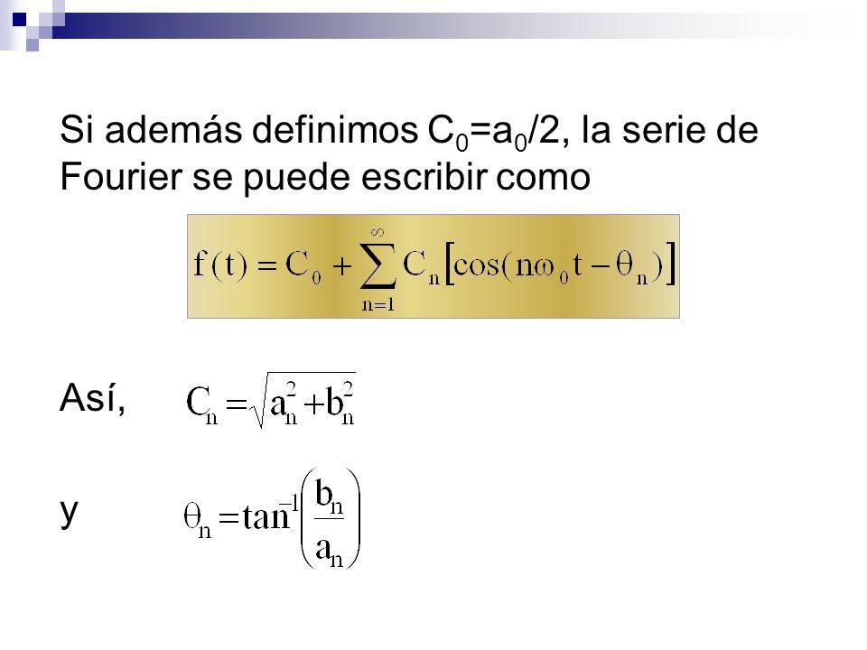 Así, una función periódica f(t) se puede escribir como la suma de componentes sinusoidales de diferentes frecuencias n =n 0.