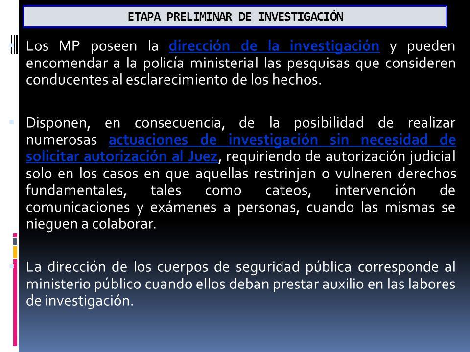 ETAPA PRELIMINAR DE INVESTIGACIÓN Los MP poseen la dirección de la investigación y pueden encomendar a la policía ministerial las pesquisas que consideren conducentes al esclarecimiento de los hechos.