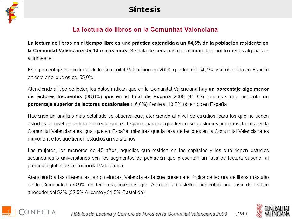 Hábitos de Lectura y Compra de libros en la Comunitat Valenciana 2009 ( 104 ) Síntesis La lectura de libros en el tiempo libre es una práctica extendida a un 54,6% de la población residente en la Comunitat Valenciana de 14 o más años.