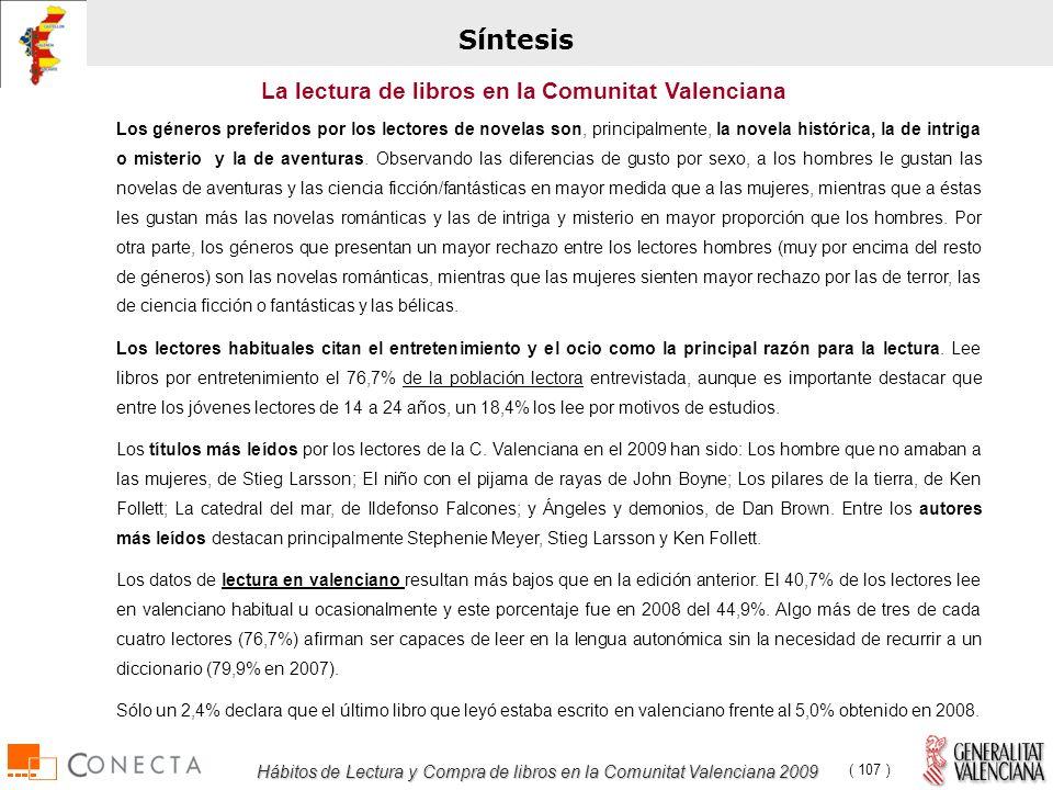 Hábitos de Lectura y Compra de libros en la Comunitat Valenciana 2009 ( 107 ) Los géneros preferidos por los lectores de novelas son, principalmente, la novela histórica, la de intriga o misterio y la de aventuras.