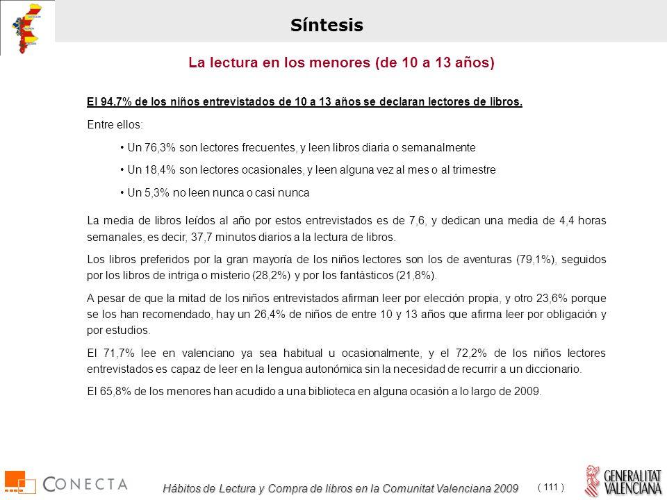 Hábitos de Lectura y Compra de libros en la Comunitat Valenciana 2009 ( 111 ) El 94,7% de los niños entrevistados de 10 a 13 años se declaran lectores de libros.