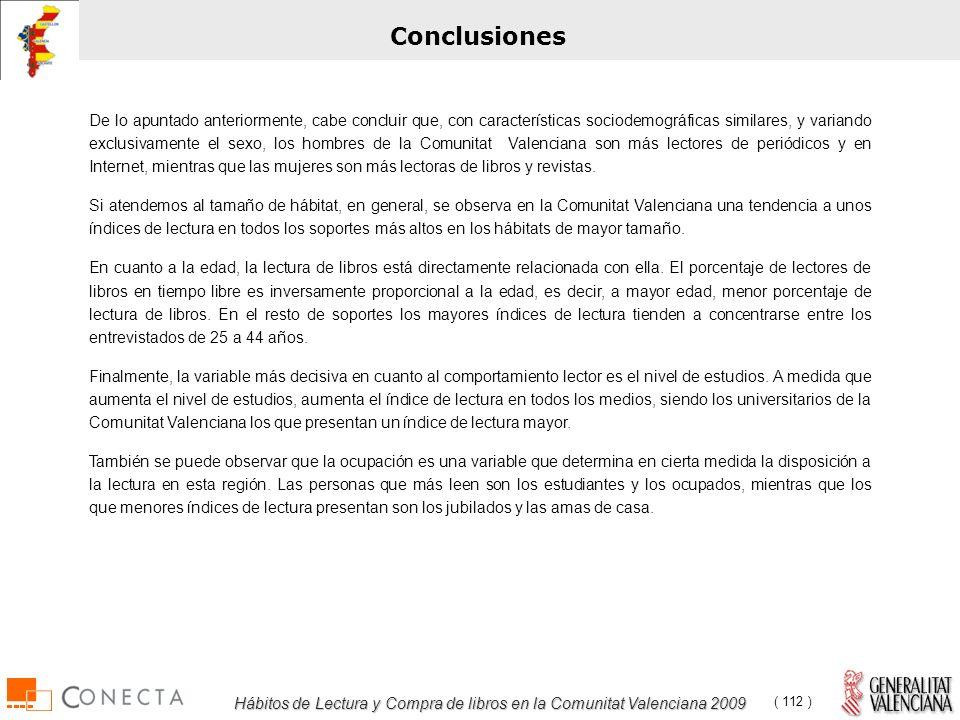 Hábitos de Lectura y Compra de libros en la Comunitat Valenciana 2009 ( 112 ) Conclusiones De lo apuntado anteriormente, cabe concluir que, con características sociodemográficas similares, y variando exclusivamente el sexo, los hombres de la Comunitat Valenciana son más lectores de periódicos y en Internet, mientras que las mujeres son más lectoras de libros y revistas.