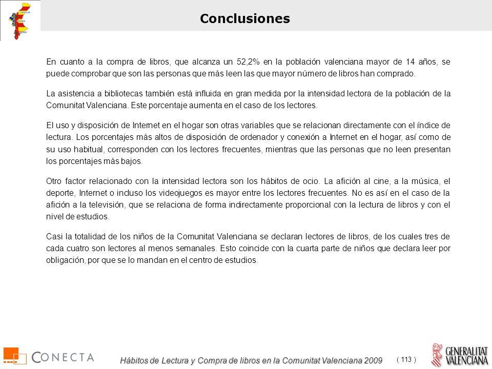 Hábitos de Lectura y Compra de libros en la Comunitat Valenciana 2009 ( 113 ) Conclusiones En cuanto a la compra de libros, que alcanza un 52,2% en la población valenciana mayor de 14 años, se puede comprobar que son las personas que más leen las que mayor número de libros han comprado.