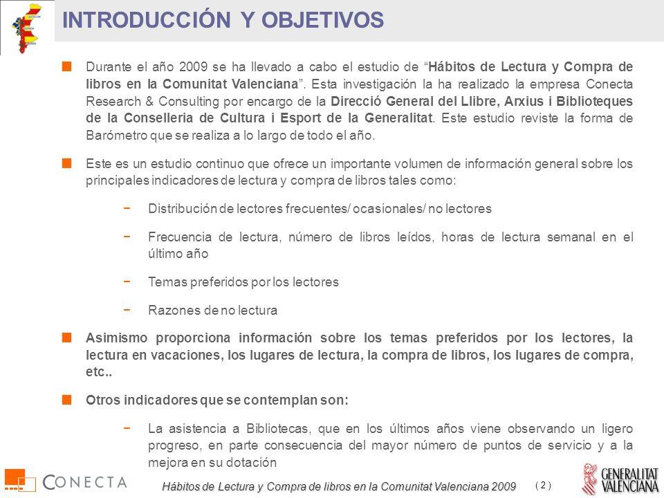Hábitos de Lectura y Compra de libros en la Comunitat Valenciana 2009 ( 2 ) INTRODUCCIÓN Y OBJETIVOS Durante el año 2009 se ha llevado a cabo el estudio de Hábitos de Lectura y Compra de libros en la Comunitat Valenciana.