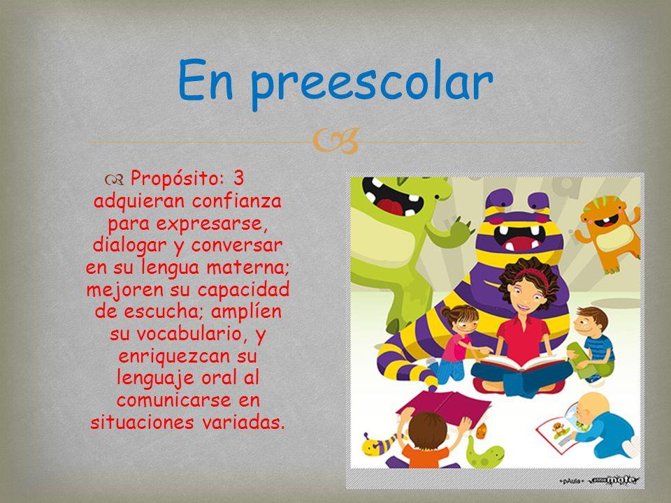 Propósito: 3 adquieran confianza para expresarse, dialogar y conversar en su lengua materna; mejoren su capacidad de escucha; amplíen su vocabulario, y enriquezcan su lenguaje oral al comunicarse en situaciones variadas.