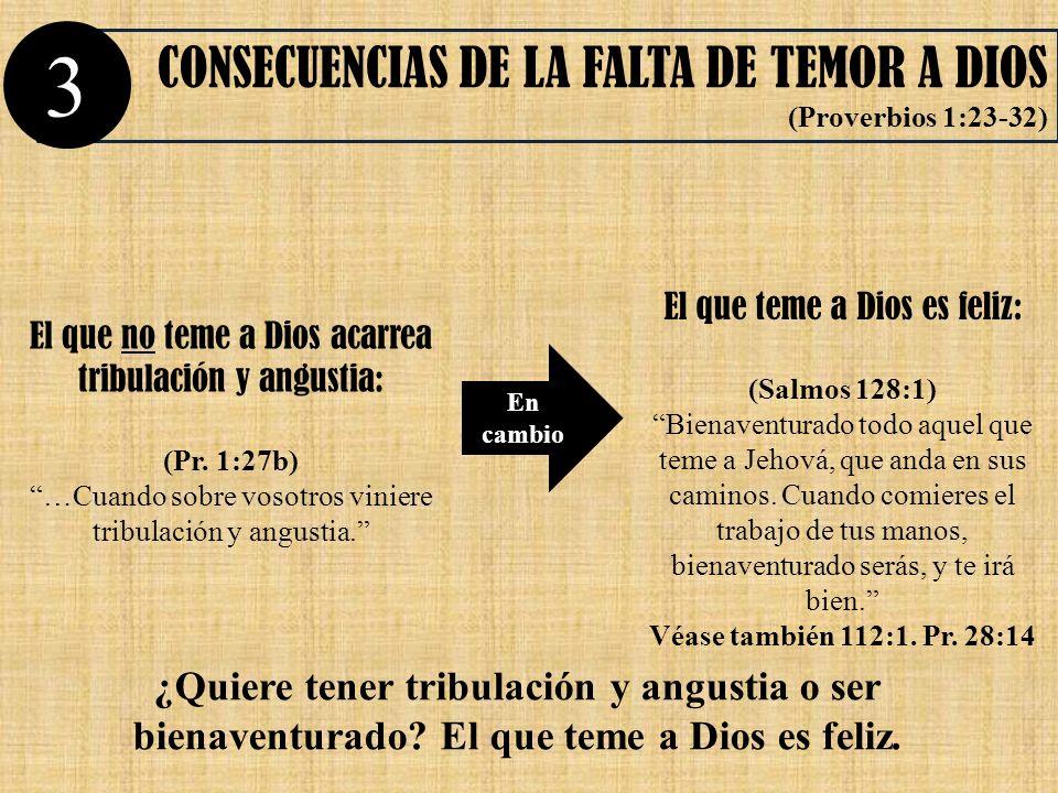 CONSECUENCIAS DE LA FALTA DE TEMOR A DIOS (Proverbios 1:23-32) En cambio 3 El que no teme a Dios acarrea tribulación y angustia: (Pr. 1:27b) …Cuando s