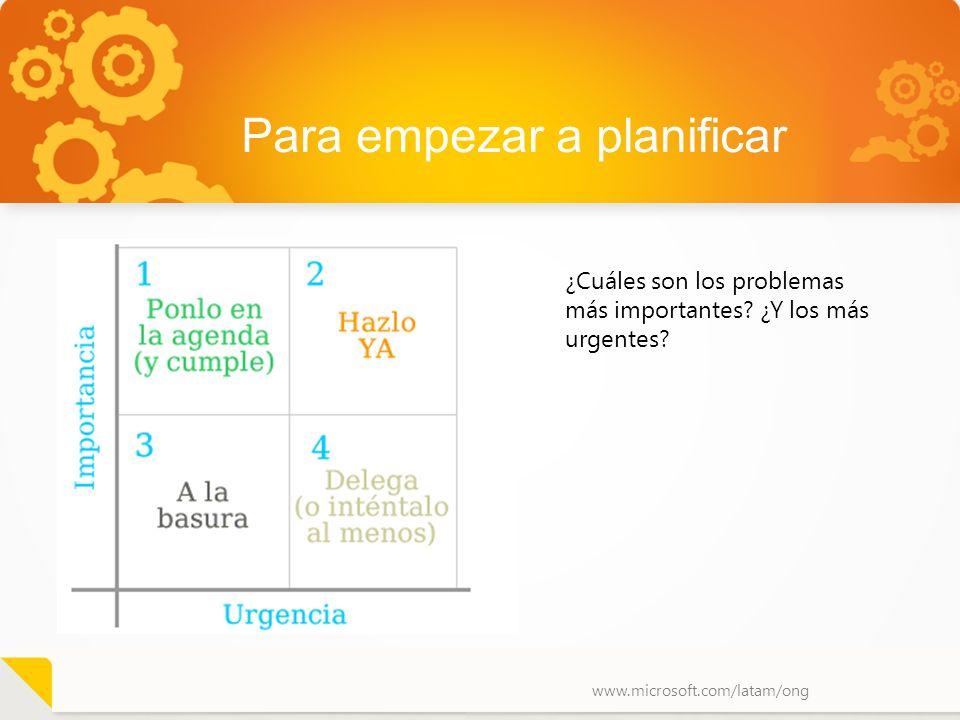 www.microsoft.com/latam/ong Para empezar a planificar ¿Cuáles son los problemas más importantes? ¿Y los más urgentes?