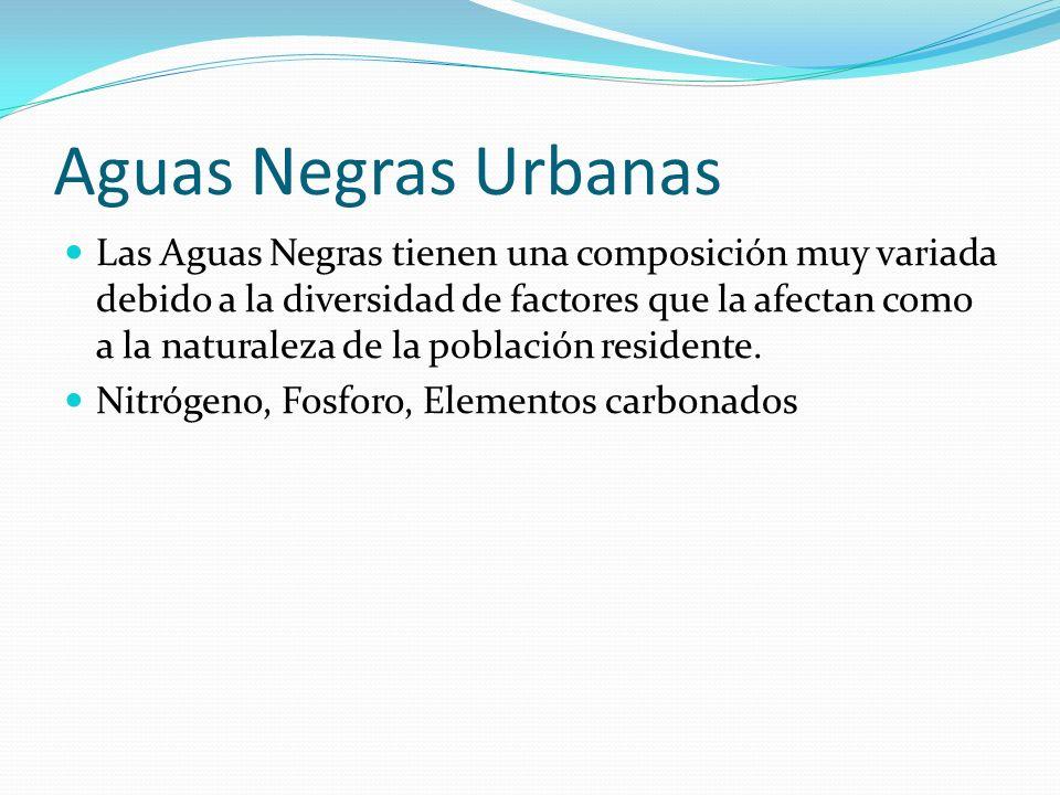 Aguas Negras Urbanas Las Aguas Negras tienen una composición muy variada debido a la diversidad de factores que la afectan como a la naturaleza de la