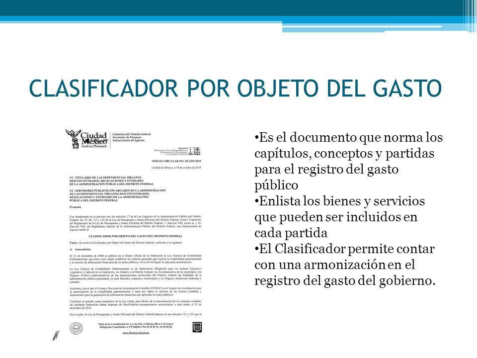 CLASIFICADOR POR OBJETO DEL GASTO Es el documento que norma los capítulos, conceptos y partidas para el registro del gasto público Enlista los bienes