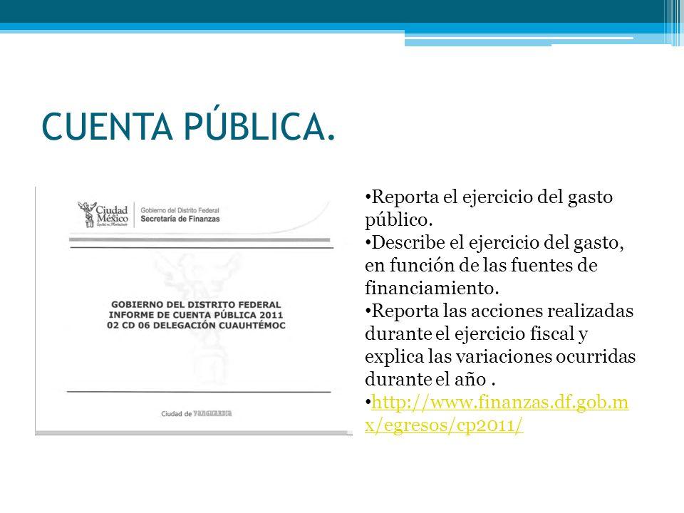 CUENTA PÚBLICA. Reporta el ejercicio del gasto público. Describe el ejercicio del gasto, en función de las fuentes de financiamiento. Reporta las acci