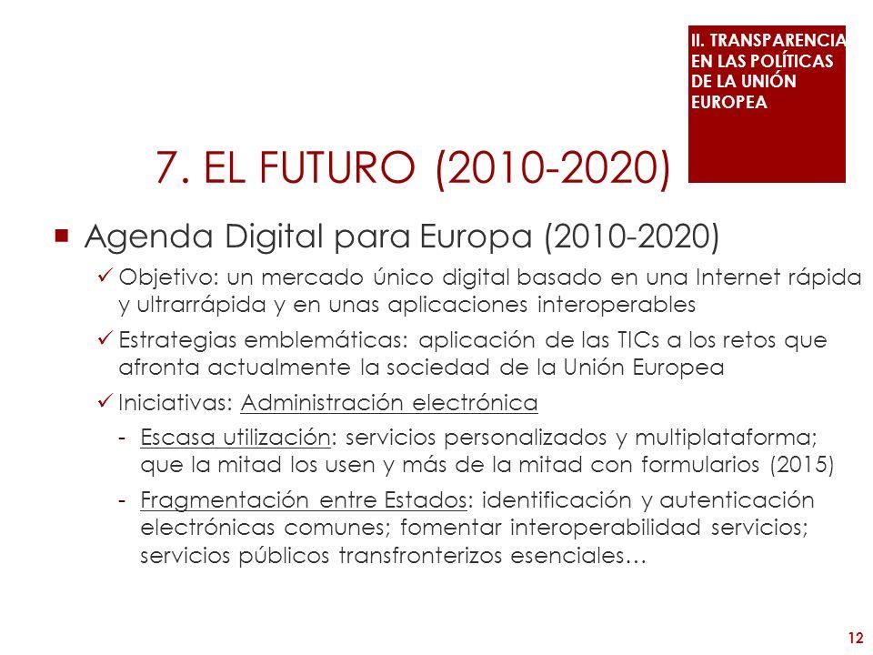 7. EL FUTURO (2010-2020) Agenda Digital para Europa (2010-2020) Objetivo: un mercado único digital basado en una Internet rápida y ultrarrápida y en u