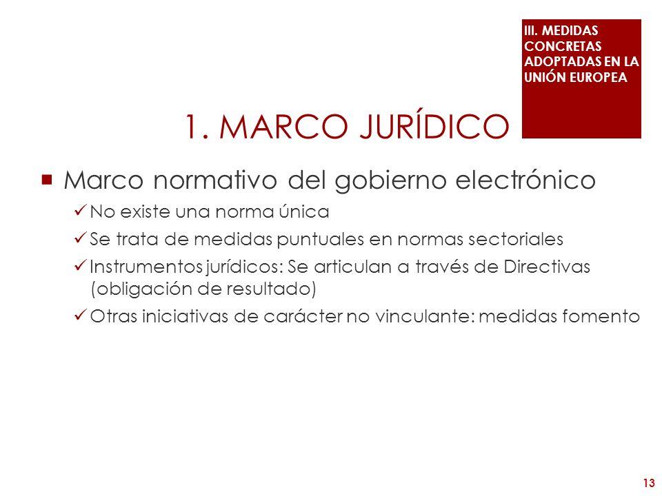 1. MARCO JURÍDICO Marco normativo del gobierno electrónico No existe una norma única Se trata de medidas puntuales en normas sectoriales Instrumentos