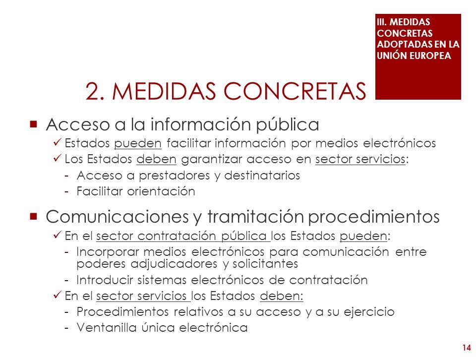 2. MEDIDAS CONCRETAS Acceso a la información pública Estados pueden facilitar información por medios electrónicos Los Estados deben garantizar acceso