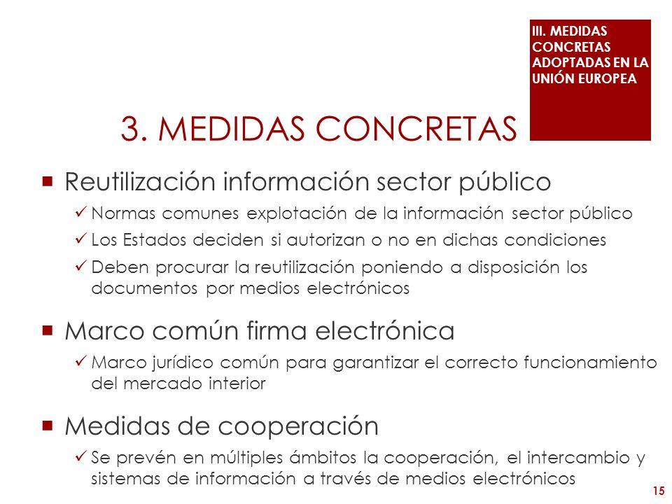 3. MEDIDAS CONCRETAS Reutilización información sector público Normas comunes explotación de la información sector público Los Estados deciden si autor