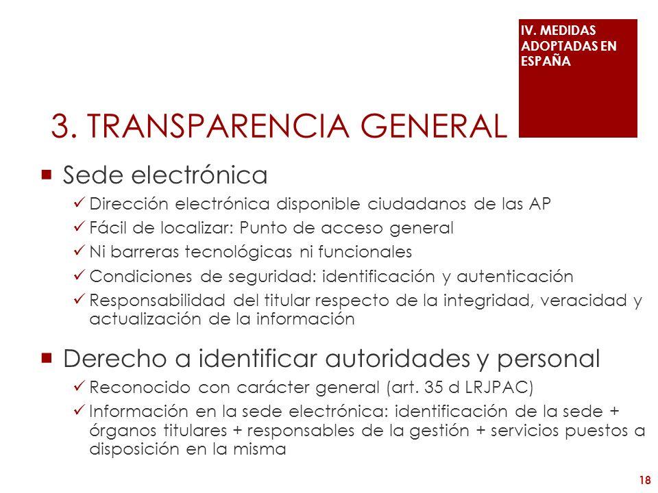 3. TRANSPARENCIA GENERAL Sede electrónica Dirección electrónica disponible ciudadanos de las AP Fácil de localizar: Punto de acceso general Ni barrera