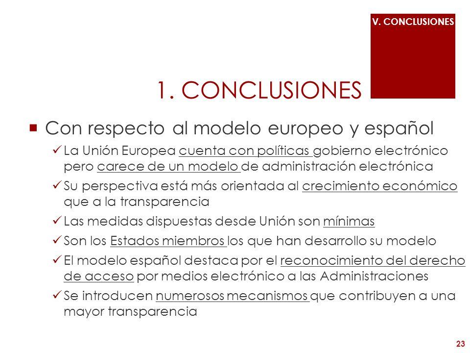 1. CONCLUSIONES Con respecto al modelo europeo y español La Unión Europea cuenta con políticas gobierno electrónico pero carece de un modelo de admini