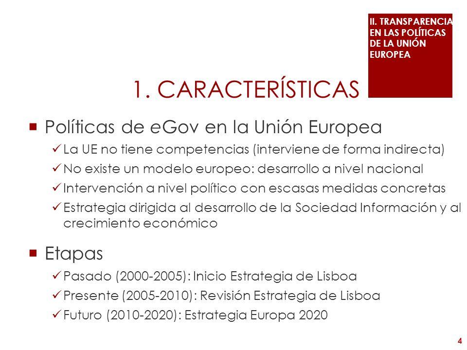1. CARACTERÍSTICAS Políticas de eGov en la Unión Europea La UE no tiene competencias (interviene de forma indirecta) No existe un modelo europeo: desa