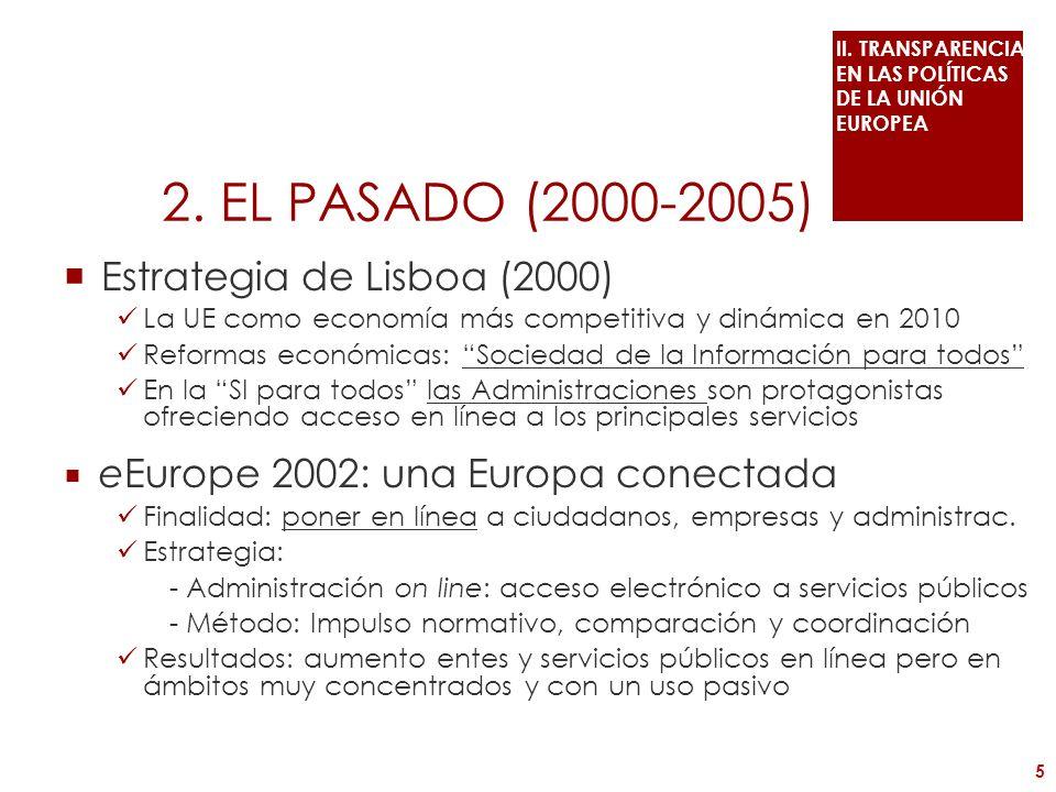 eEurope 2005: una conectividad efectiva Finalidad: Conexión efectiva convertible actividad económica Estrategia: - Iniciativas: servicios públicos interactivos - Instrumentos: buenas prácticas, comparación, coordinación La administración electrónica en el futuro de Europa (2003): - Se identifica como un medio para alcanzar un sector público más abierto, incluyente y productivo, para el buen gobierno - Beneficios: servicios a ciudadanos (calidad de vida), empresas (competitividad), administraciones (coordinación) - Actuaciones: acceso incluyente, mayor confianza… - Método: intercambio buenas prácticas + más inversiones Resultado: incremento servicio públicos en línea interactivos 6 II.