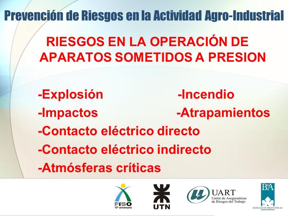 RIESGOS EN LA OPERACIÓN DE APARATOS SOMETIDOS A PRESION -Explosión -Incendio -Impactos -Atrapamientos -Contacto eléctrico directo -Contacto eléctrico