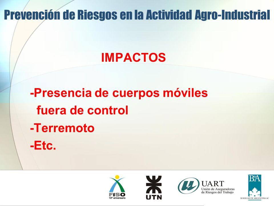 IMPACTOS -Presencia de cuerpos móviles fuera de control -Terremoto -Etc. Prevención de Riesgos en la Actividad Agro-Industrial