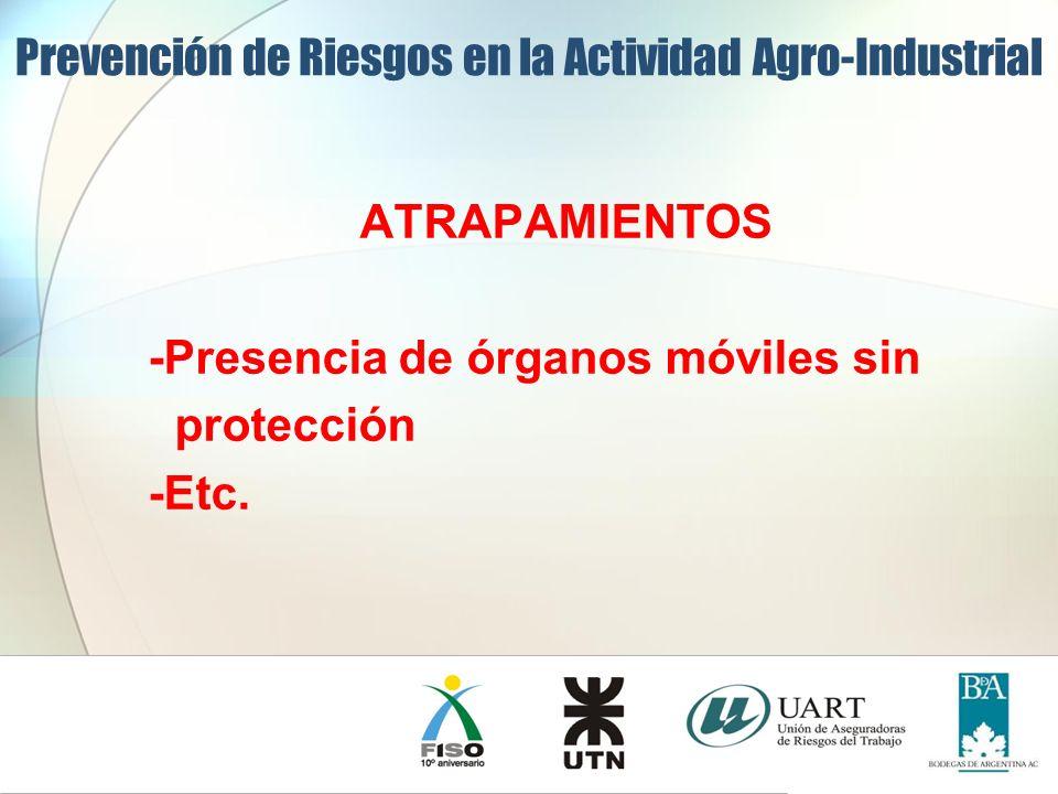 ATRAPAMIENTOS -Presencia de órganos móviles sin protección -Etc. Prevención de Riesgos en la Actividad Agro-Industrial