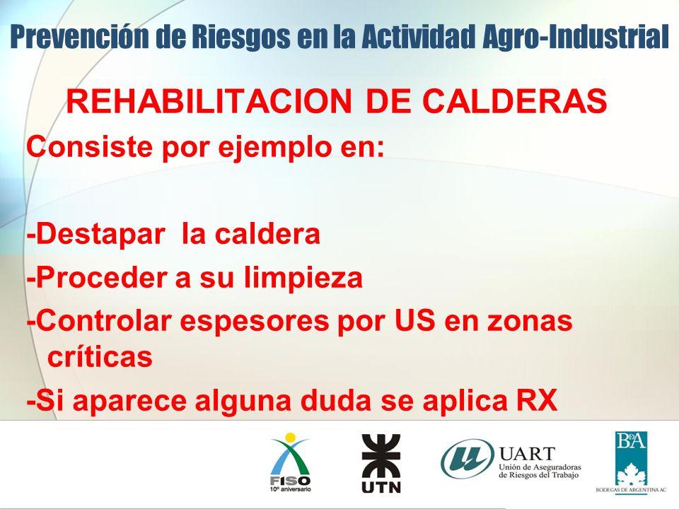 REHABILITACION DE CALDERAS Consiste por ejemplo en: -Destapar la caldera -Proceder a su limpieza -Controlar espesores por US en zonas críticas -Si apa