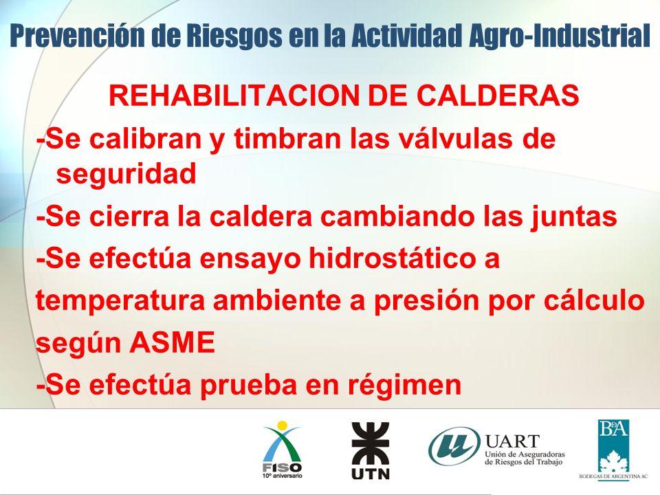 REHABILITACION DE CALDERAS -Se calibran y timbran las válvulas de seguridad -Se cierra la caldera cambiando las juntas -Se efectúa ensayo hidrostático