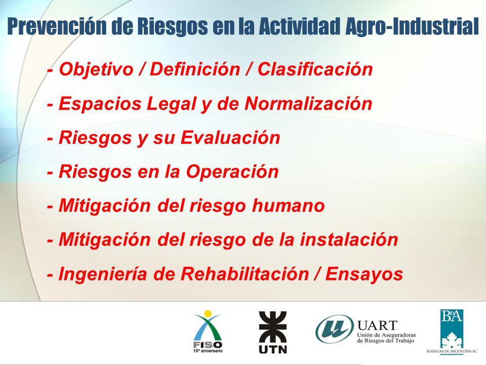 - Objetivo / Definición / Clasificación - Espacios Legal y de Normalización - Riesgos y su Evaluación - Riesgos en la Operación - Mitigación del riesg