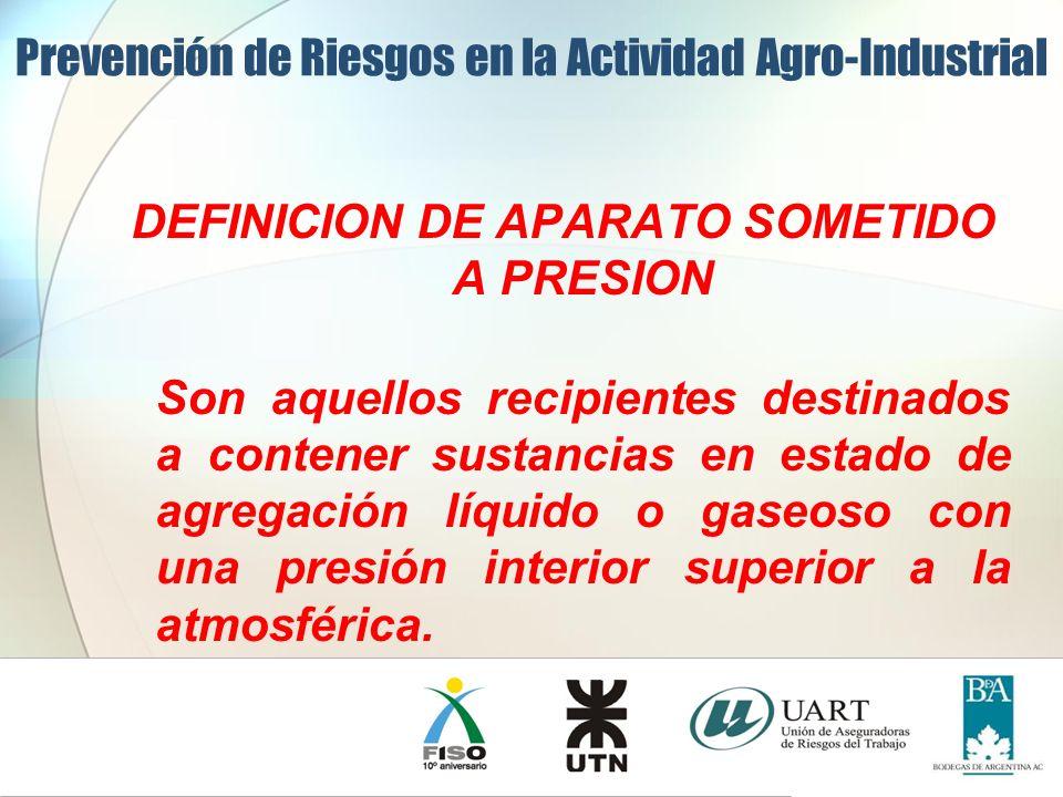 DEFINICION DE APARATO SOMETIDO A PRESION Son aquellos recipientes destinados a contener sustancias en estado de agregación líquido o gaseoso con una p