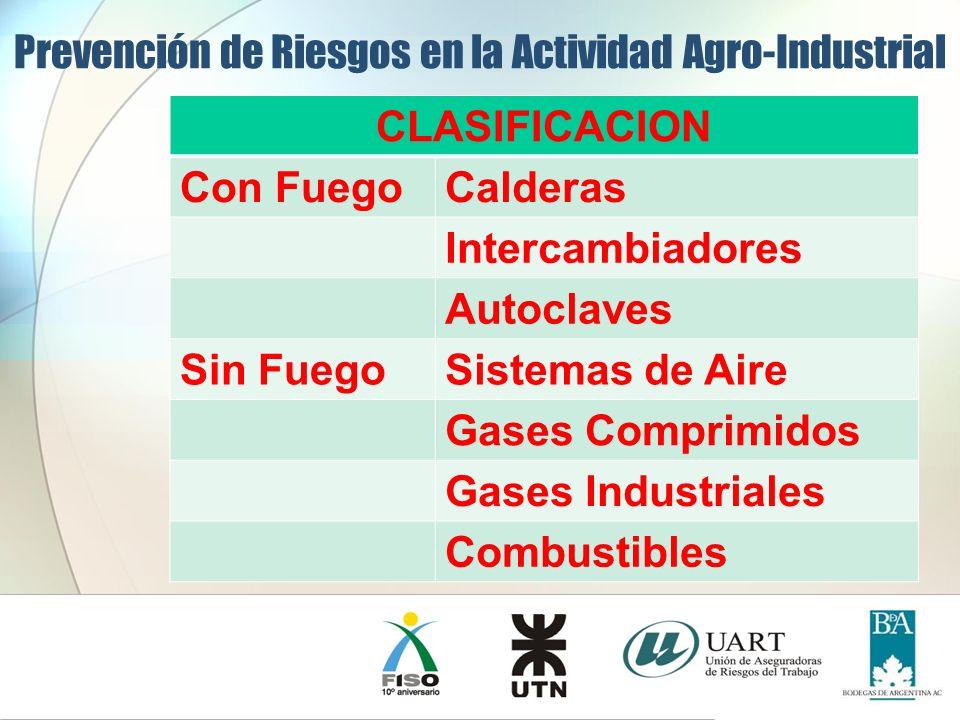 CLASIFICACION Con FuegoCalderas Intercambiadores Autoclaves Sin FuegoSistemas de Aire Gases Comprimidos Gases Industriales Combustibles