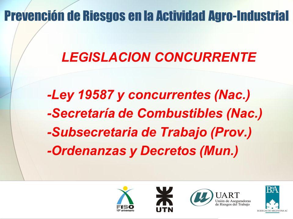 LEGISLACION CONCURRENTE -Ley 19587 y concurrentes (Nac.) -Secretaría de Combustibles (Nac.) -Subsecretaria de Trabajo (Prov.) -Ordenanzas y Decretos (