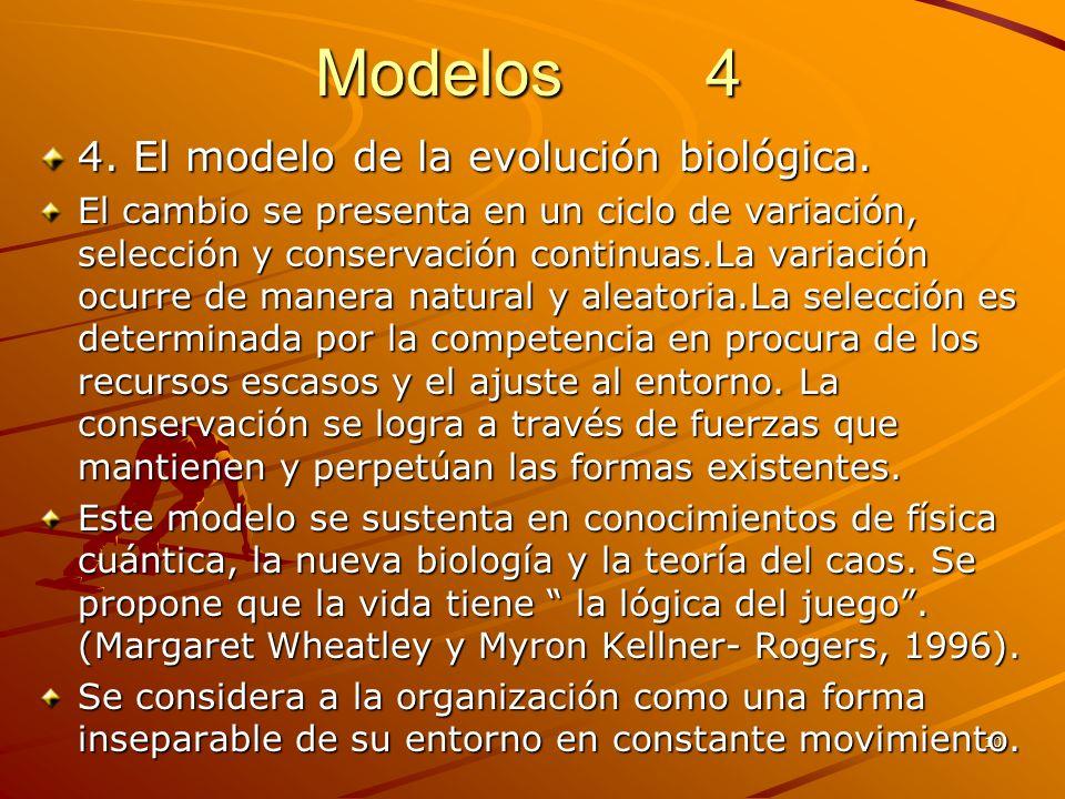 10 Modelos 4 4. El modelo de la evolución biológica. El cambio se presenta en un ciclo de variación, selección y conservación continuas.La variación o