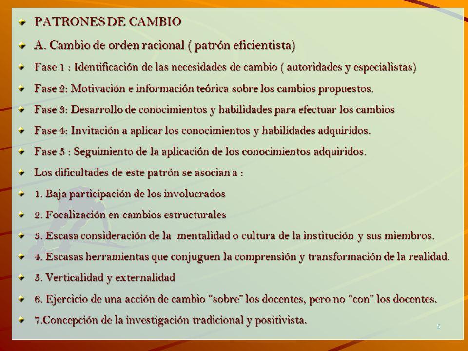 5 PATRONES DE CAMBIO A. Cambio de orden racional ( patrón eficientista) Fase 1 : Identificación de las necesidades de cambio ( autoridades y especiali