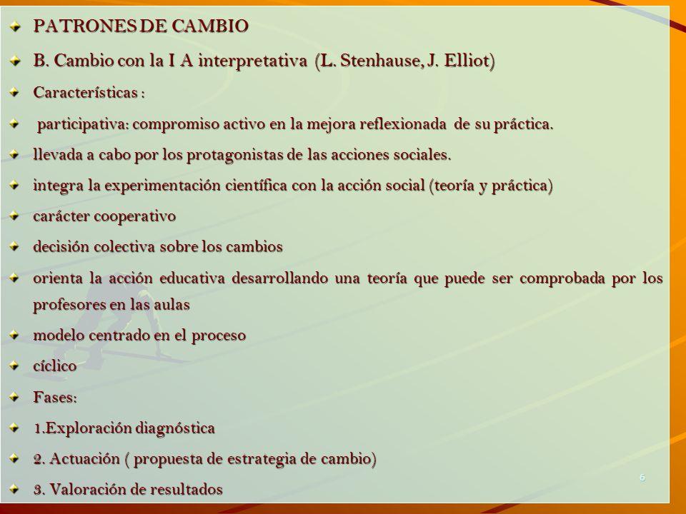 6 PATRONES DE CAMBIO B. Cambio con la I A interpretativa (L. Stenhause, J. Elliot) Características : participativa: compromiso activo en la mejora ref
