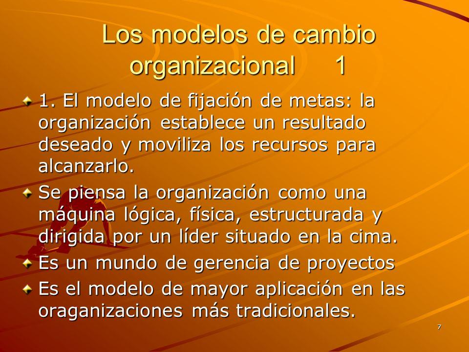 7 Los modelos de cambio organizacional 1 1. El modelo de fijación de metas: la organización establece un resultado deseado y moviliza los recursos par