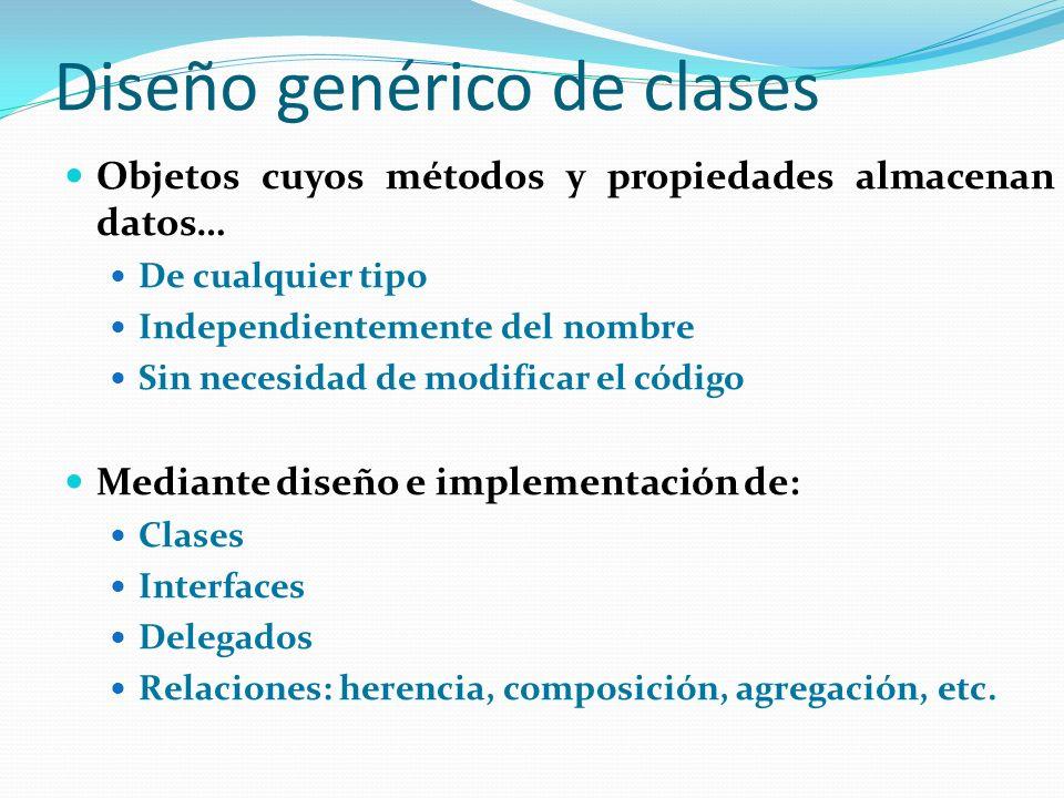 Diseño genérico de clases Objetos cuyos métodos y propiedades almacenan datos… De cualquier tipo Independientemente del nombre Sin necesidad de modifi