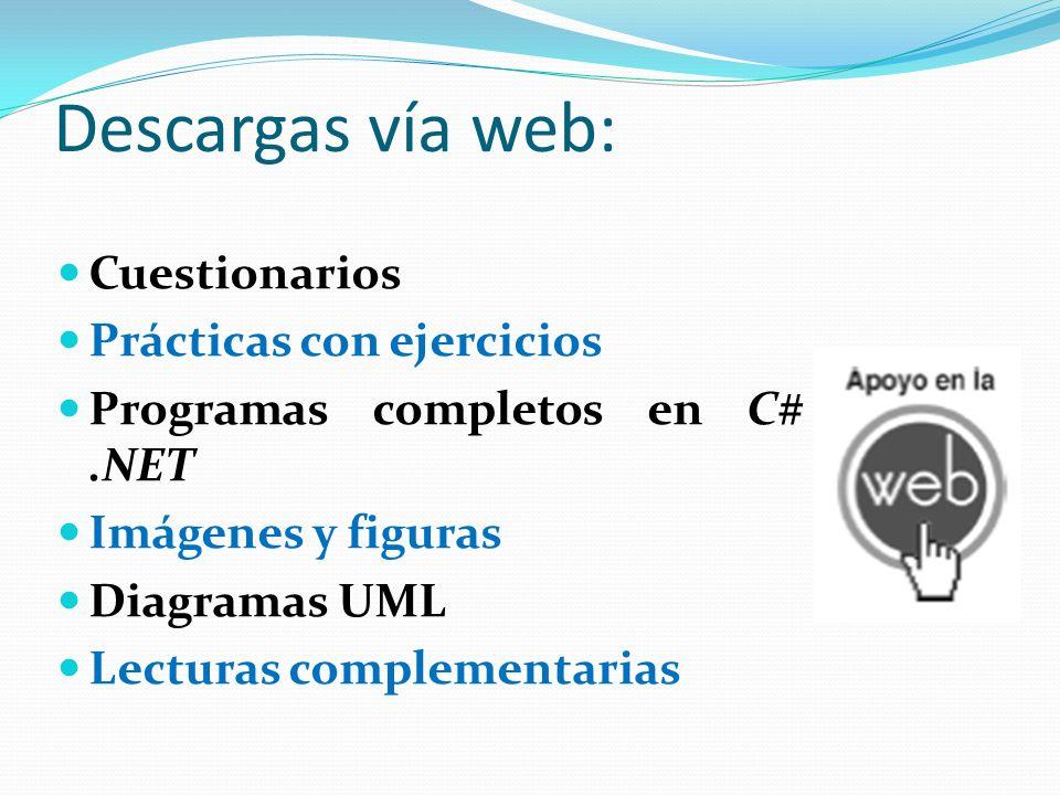 Descargas vía web: Cuestionarios Prácticas con ejercicios Programas completos en C#.NET Imágenes y figuras Diagramas UML Lecturas complementarias