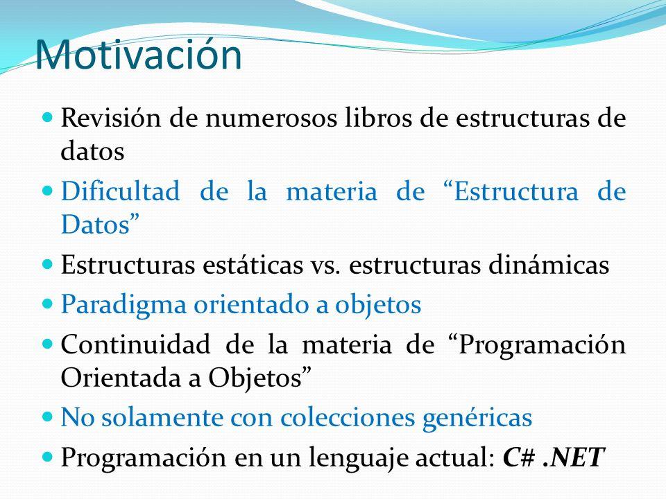 Motivación Revisión de numerosos libros de estructuras de datos Dificultad de la materia de Estructura de Datos Estructuras estáticas vs. estructuras
