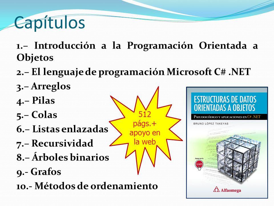 Capítulos 1.– Introducción a la Programación Orientada a Objetos 2.– El lenguaje de programación Microsoft C#.NET 3.– Arreglos 4.– Pilas 5.– Colas 6.–