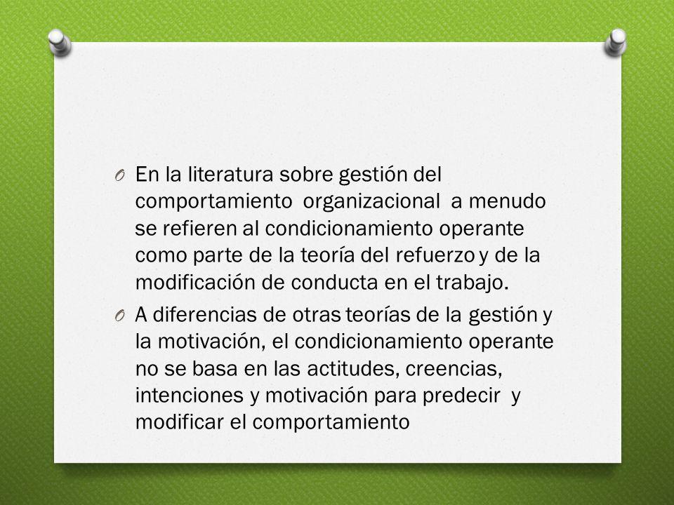 O En la literatura sobre gestión del comportamiento organizacional a menudo se refieren al condicionamiento operante como parte de la teoría del refuerzo y de la modificación de conducta en el trabajo.