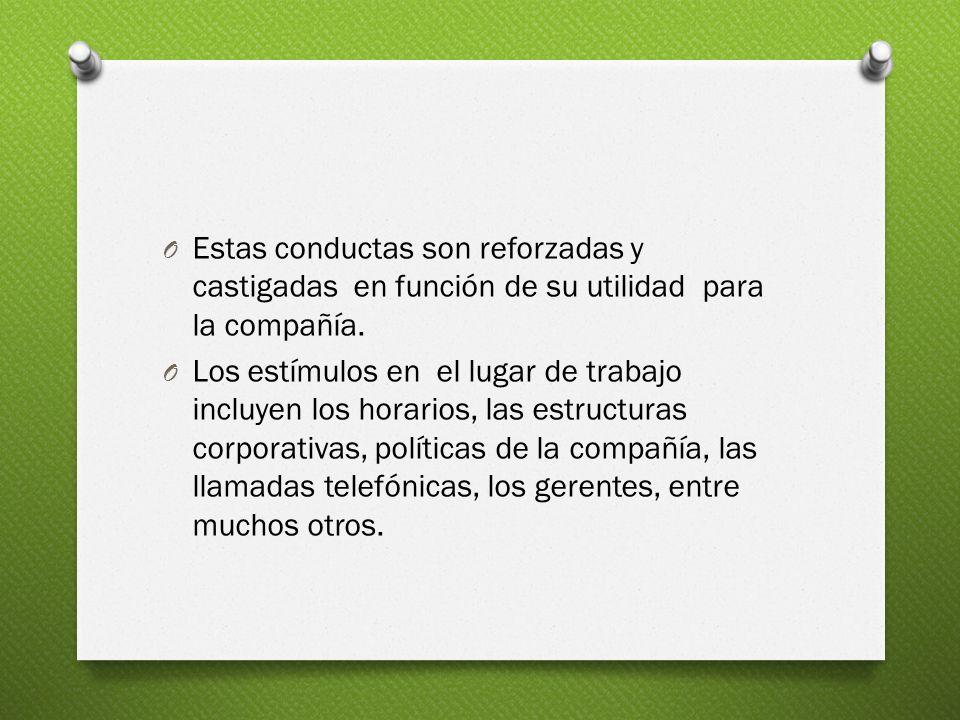 O Estas conductas son reforzadas y castigadas en función de su utilidad para la compañía.