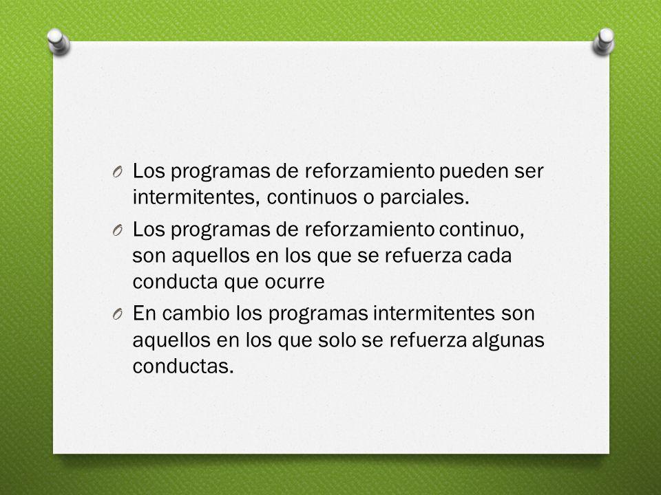 O Los programas de reforzamiento pueden ser intermitentes, continuos o parciales.