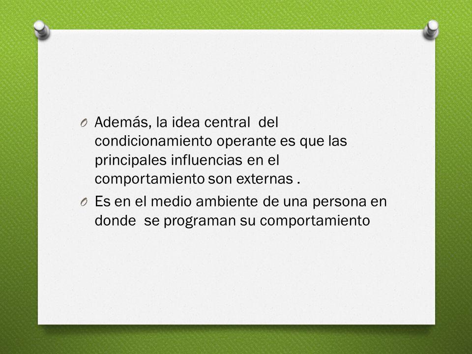 O Además, la idea central del condicionamiento operante es que las principales influencias en el comportamiento son externas.